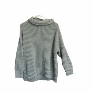 Aerie knit teal oversize turtle neck sweater